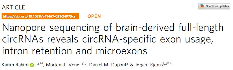 重量級文章!Nanopore circRNA研究又見刊啦