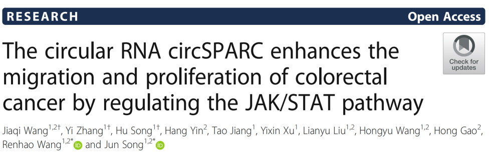 Molecular Cancer | circSPARC通过JAK/STAT信号通路促进结直肠癌的发